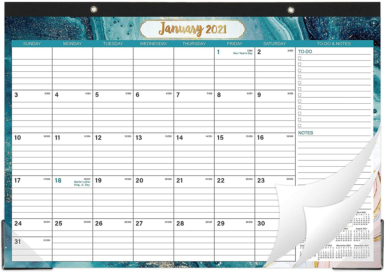 Popeven 2021 Desk Calendar - Yearly Desk Calendar 2021, Desk/Wall Monthly Calendar Pad With in Julian Date Calendar For Year 2021 Graphics