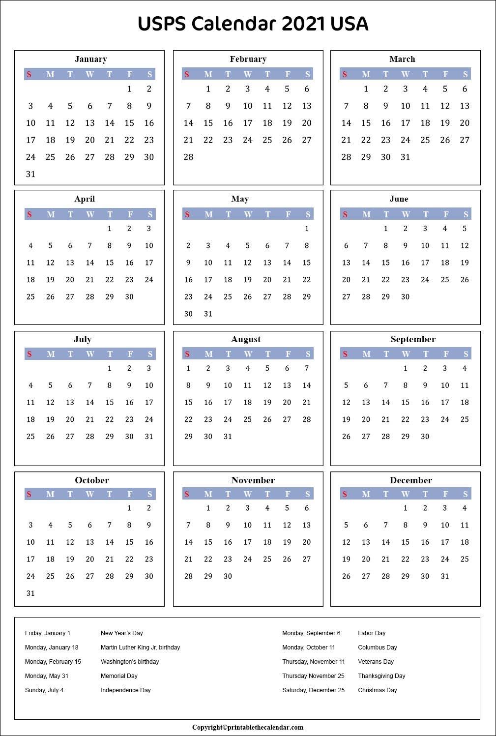 Posatal Awrvice Calendar 2021 | 2021 Calendar within Free Printable Calendarlabs 2021