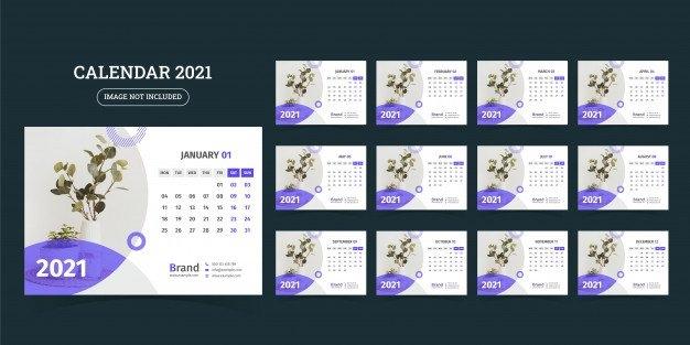 Premium Vector   Desk Calendar Design 2021 Template Set Of 12 Months, Week Starts Monday, throughout 2021 Table Calendar Templates For Illustrator