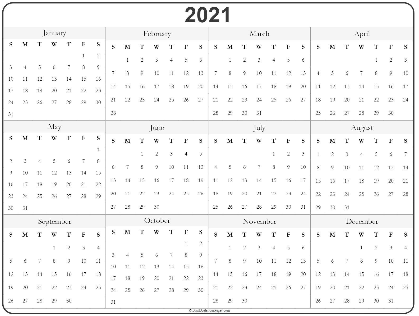 Print Free 2021 Yearly Calendar With Boxes | Calendar Printables Free Templates with 2021 Calendar With Date Boxes