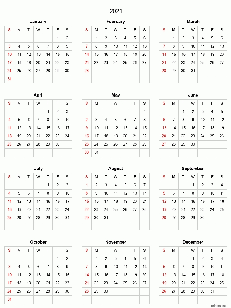 Print Free 2021 Yearly Calendar With Boxes | Calendar Printables Free Templates with regard to 2021 Printable Full Year Calendar