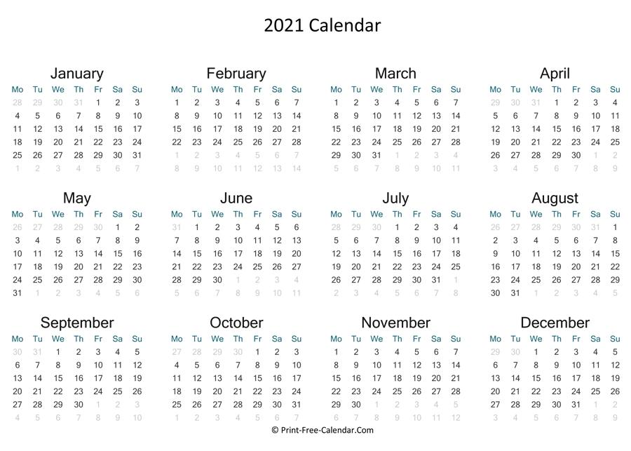 Print Free Calendar 2021 pertaining to Printable Calendars For 2021
