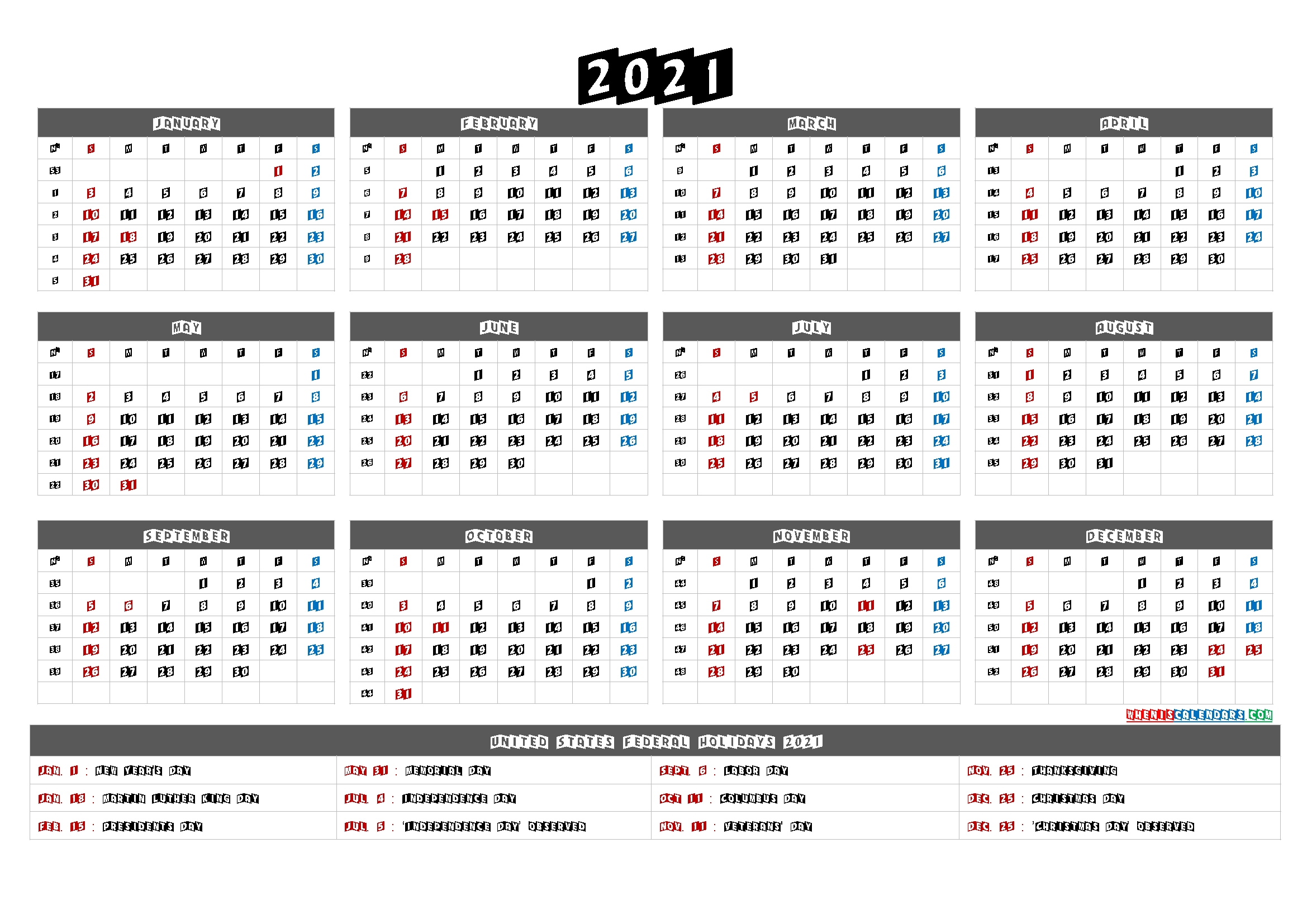Printable 2021 Calendar One Page - 6 Templates | Free Printable 2020 Calendar With Holidays intended for 2021 Calendar Printable One Page