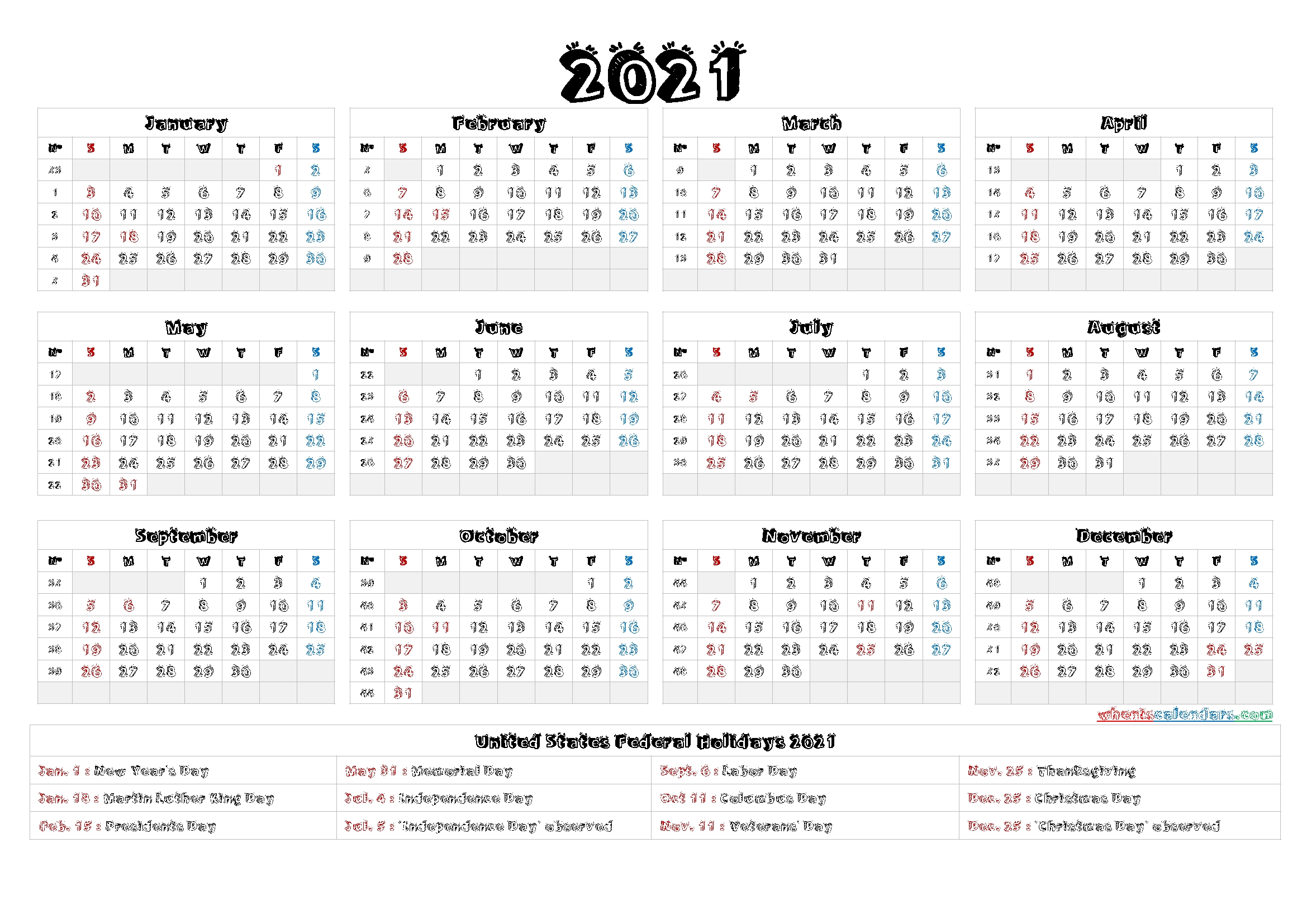 Printable 2021 Calendar One Page - 9 Templates throughout 2021 Calendar Printable Pdf Free Pay Date And Holiday