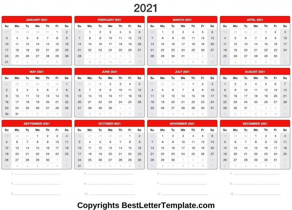 Printable 2021 Calendar Template In Pdf, Word & Excel with 2021 Planners Template Singapore Image