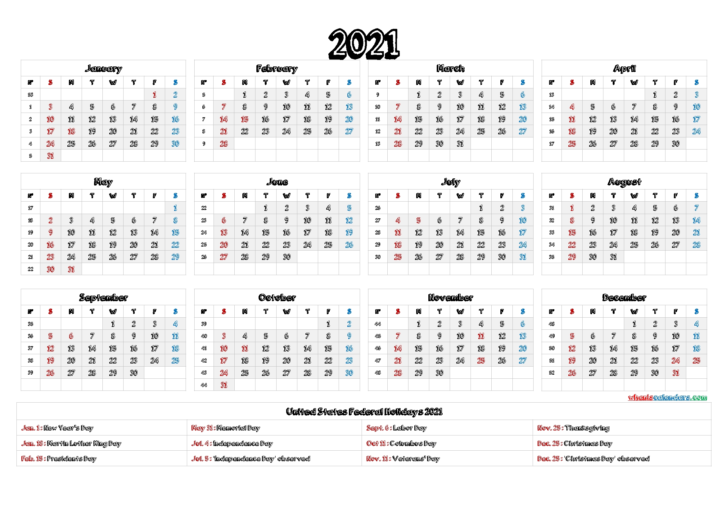 Printable 2021 Calendar With Holidays - 6 Templates throughout 2021 Calendar Printable Pdf Free Pay Date And Holiday Graphics