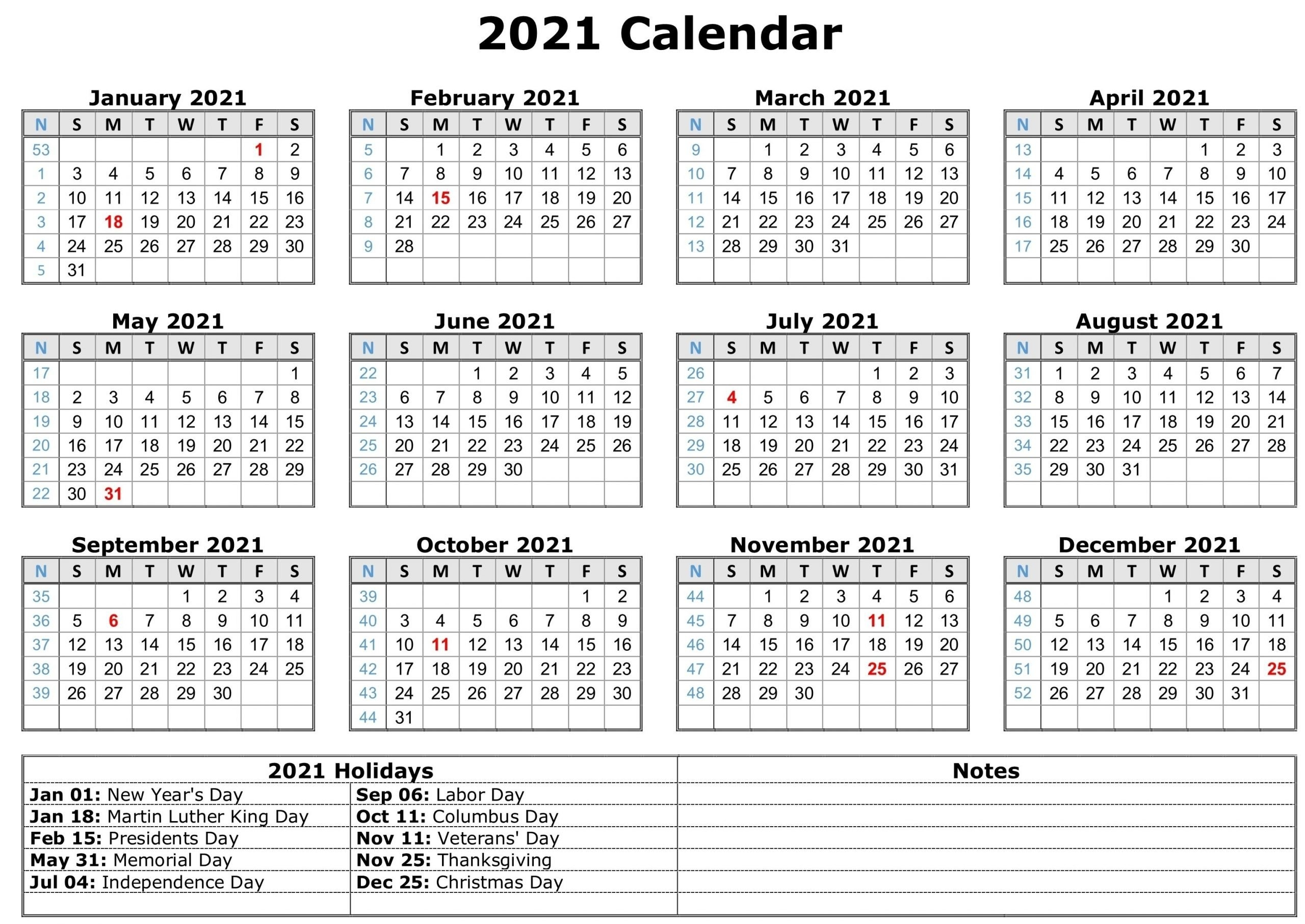 Printable 2021 Calendar With Lines Free   Calendar Template 2021 with regard to Two Year Calendar Template 2021 2021 Image