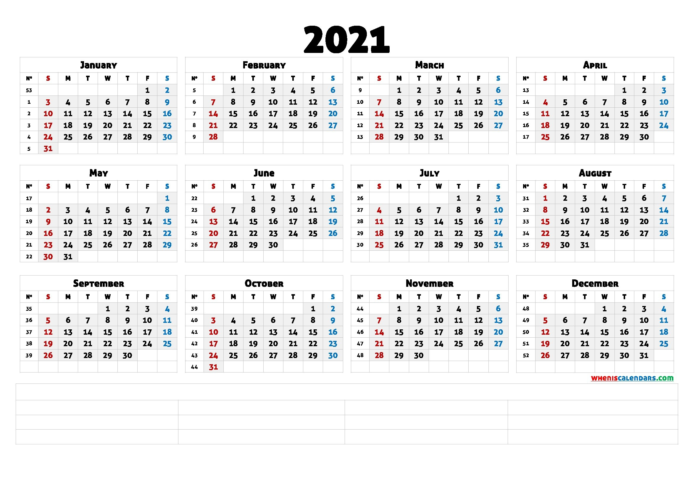 Printable 2021 Calendar With Week Numbers (6 Templates) | Free Printable 2020 Calendar With Holidays in Calendar With Numbered Days 2021