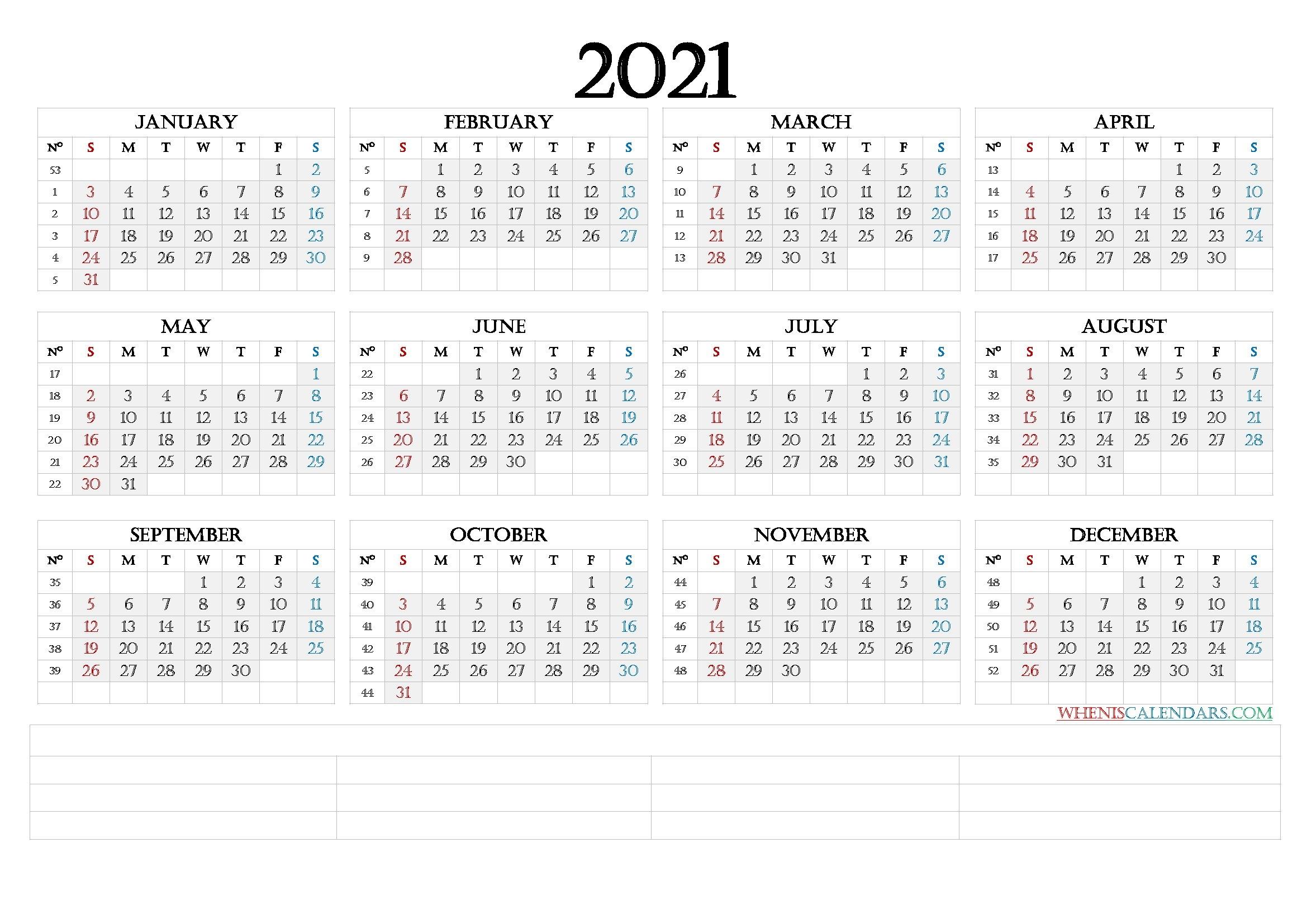 Printable 2021 Calendar With Week Numbers (6 Templates) regarding 2021 Calendar Image By Week Numbers Graphics