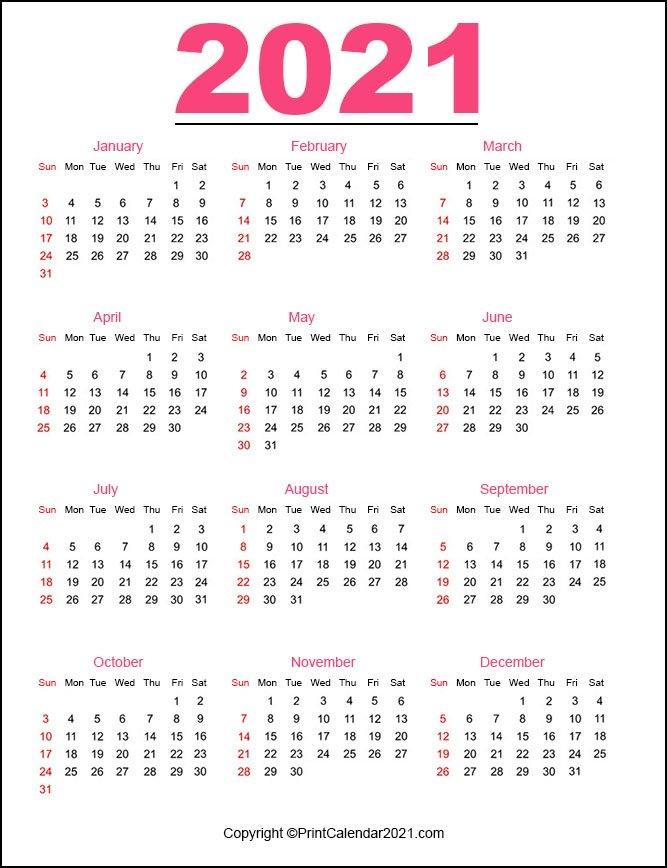 Printable 2021 Calendarmonth in 2021 Calendar Printable Free