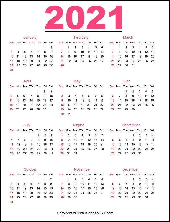 Printable 2021 Calendarmonth in One Page 2021 Calendar Printable Images Graphics