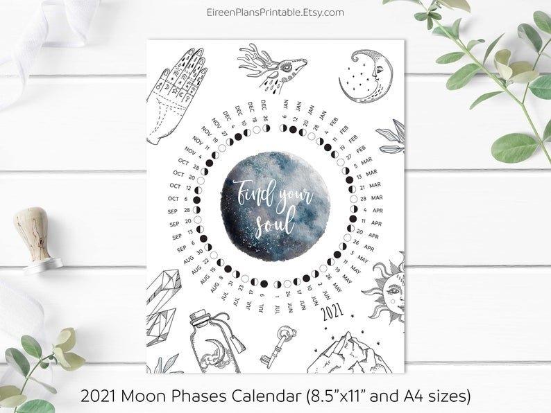 Printable 2021 Moon Phases Calendar 2021 Lunar Calendar Full | Etsy intended for Full Moon Calendar 2021 Printable