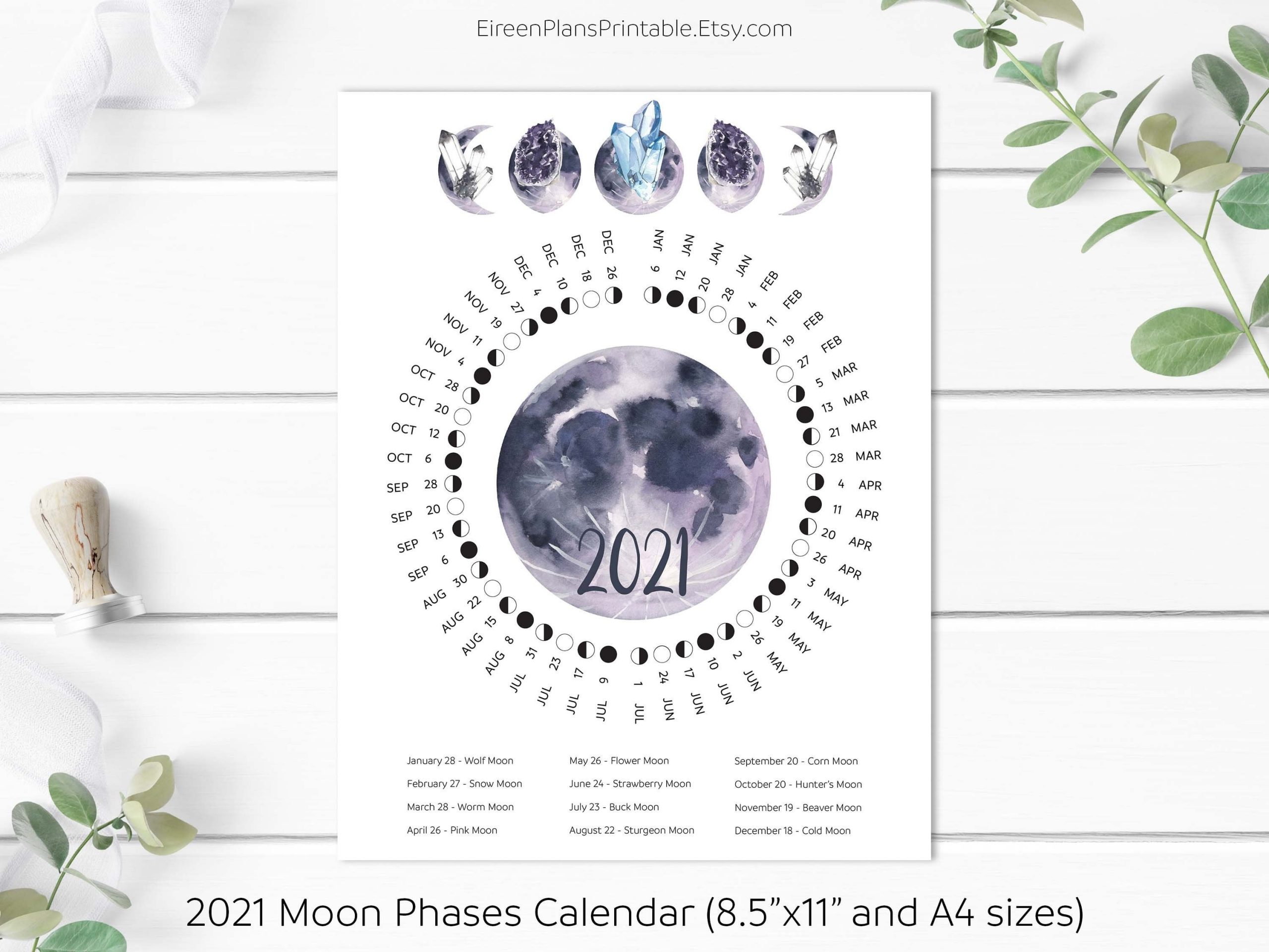 Printable 2021 Moon Phases Calendar 2021 Lunar Calendar Moon   Etsy inside Lunar Moon Calendar 2021