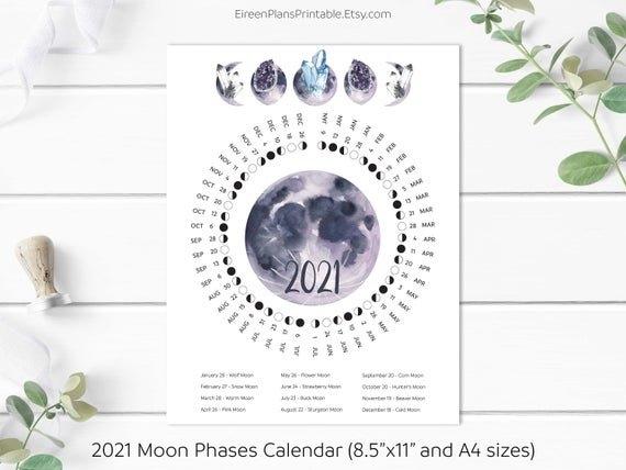 Printable 2021 Moon Phases Calendar 2021 Lunar Calendar Moon | Etsy intended for 2021 Moon Phase Calendar Printable Graphics