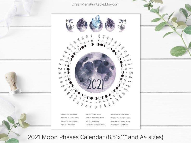 Printable 2021 Moon Phases Calendar 2021 Lunar Calendar Moon | Etsy regarding Full Moon Calendar 2021 Printable Photo
