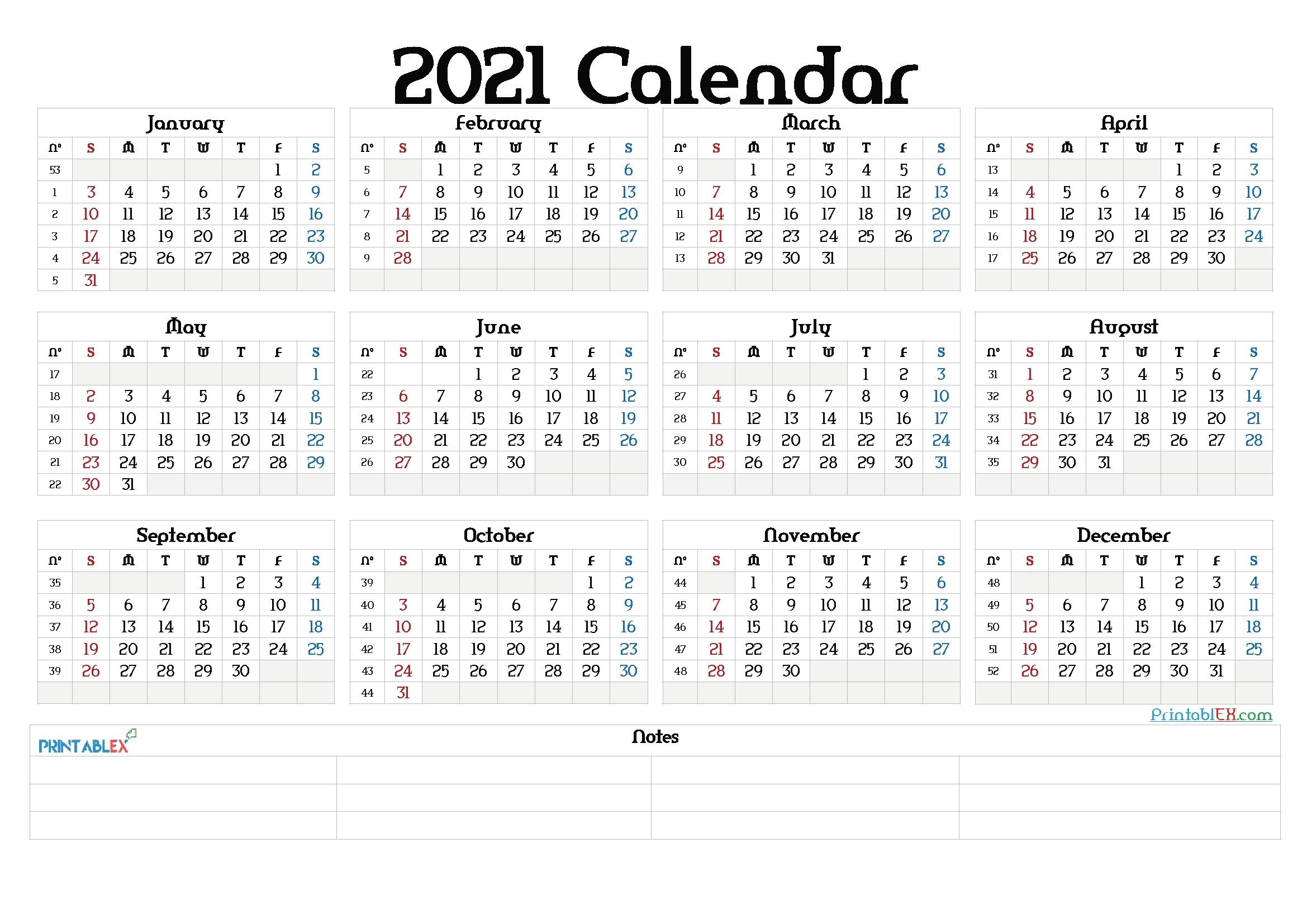 Printable 2021 Yearly Calendar With Week Numbers - 21Ytw77 In 2020 | Free Printable Calendar inside 2021 Calendar Image By Week Numbers Graphics