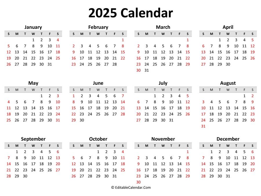 Printable 2025 Calendar (Landscape Orientation) throughout 2021 To 2025 Calendar Image