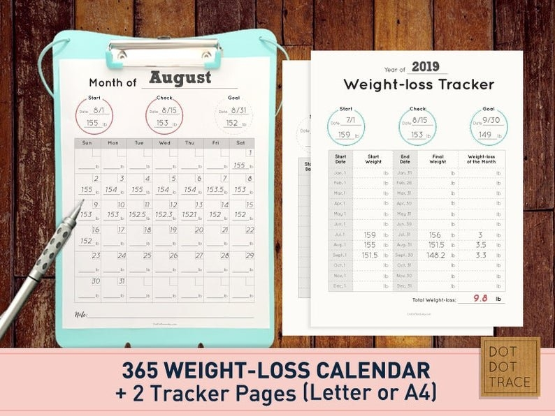 Printable 365 Weight Loss Calendar 365 Weight-Loss Calendar   Etsy with regard to 365 Days Challenge Calendar