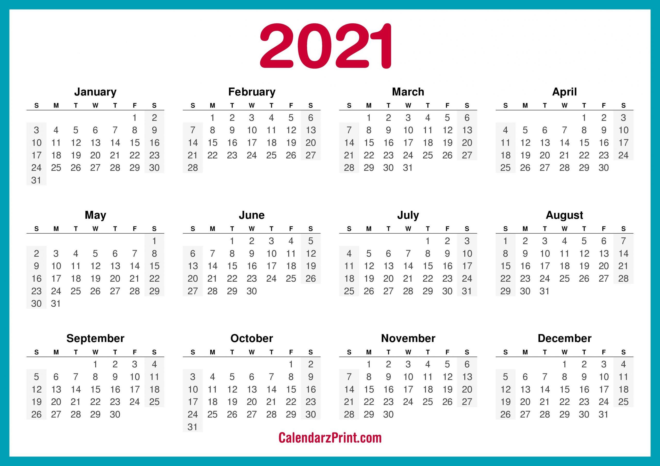 Printable 58 2021 Calendar / Printable Calendar 2021 Download Print Free Blank Calendars for Free Printable Planner Pdf 2021