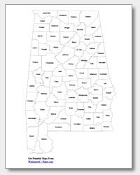 Printable Alabama Map | State Outline, County, Cities | Printable Maps, State Outline, Map intended for Waterproofpaper.com Graphics