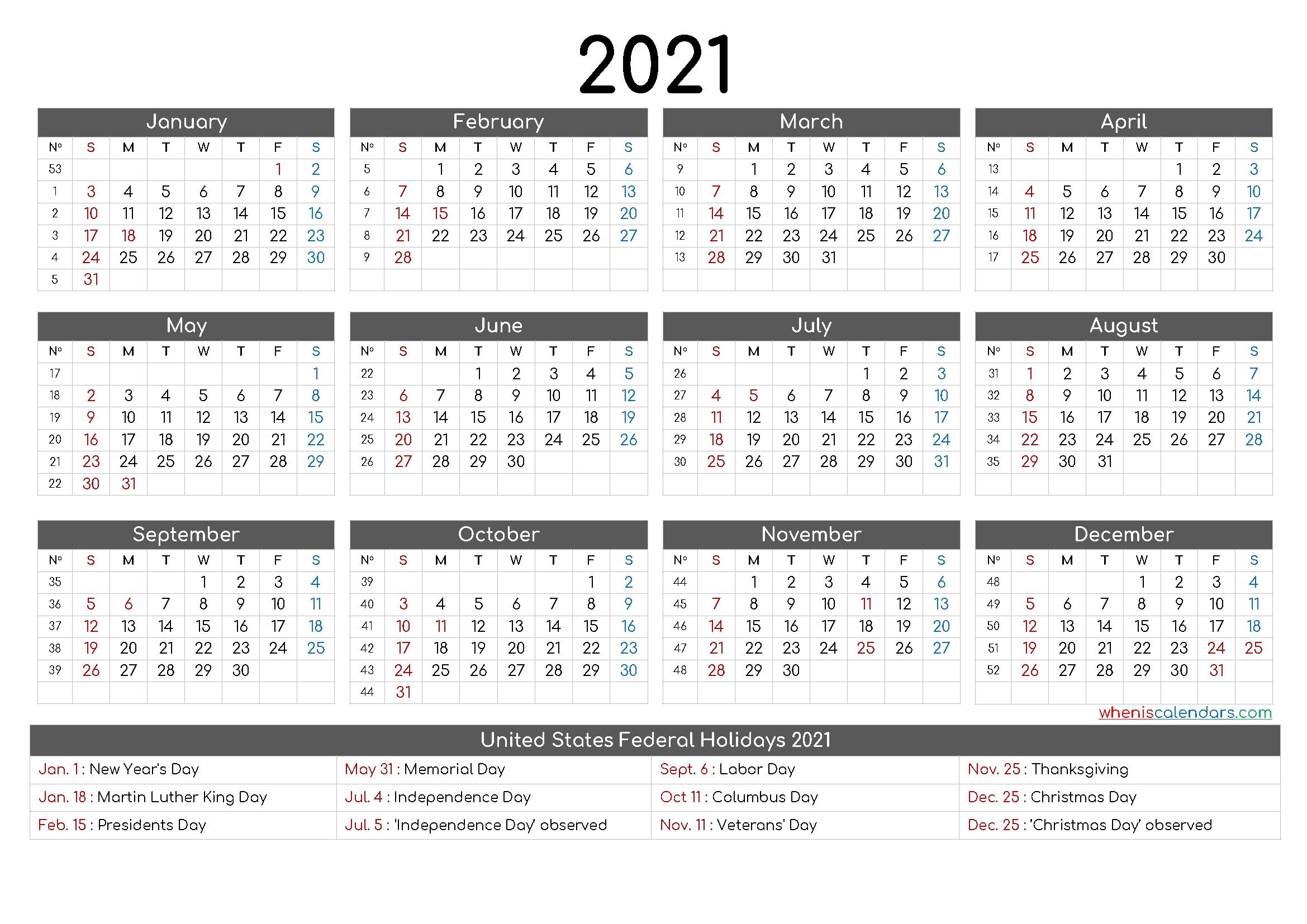 Printable Calendar Months 2021 - Holiday Calendar with Free Printable Calendarlabs 2021 Graphics