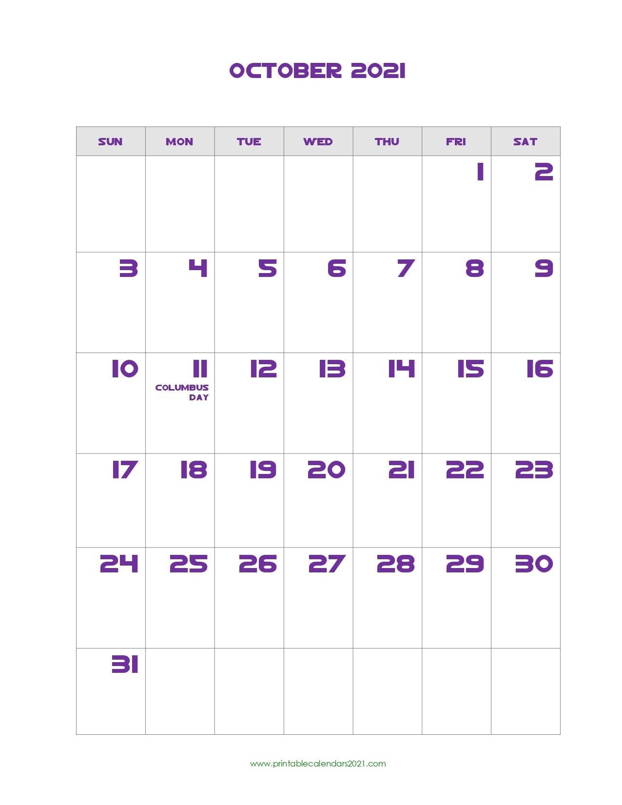 Printable Calendar October 2021, Printable 2021 Calendar With Holidays with regard to Free Printable Calendar October 2021 With Hoilday