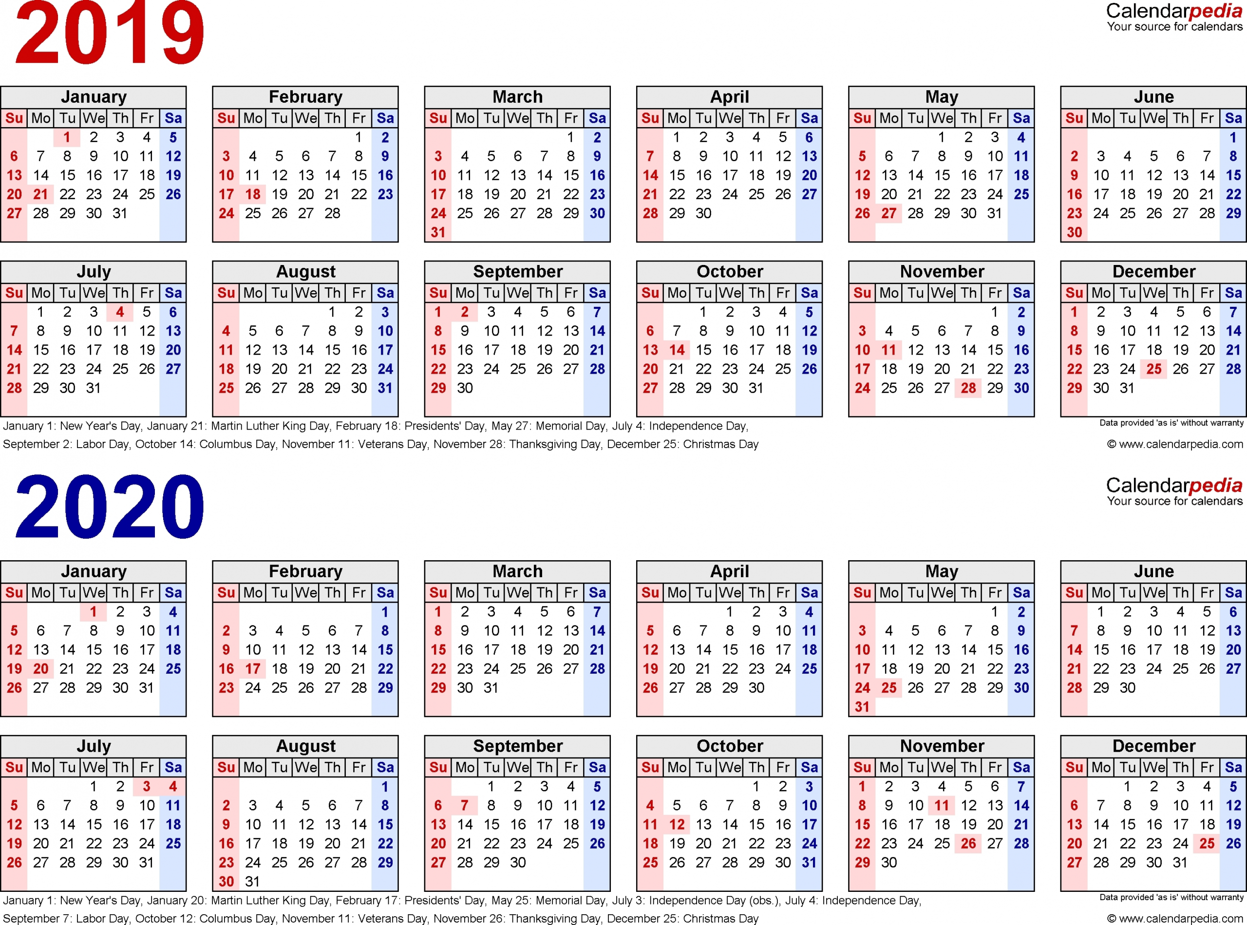 Printable Calendar One Week Per Page 2020 - Calendar Inspiration Design within Sample One Page Multi Year Calendars Image