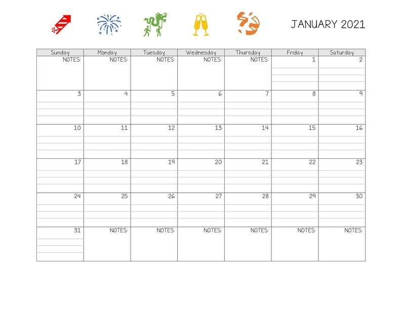 Printable/Editable Lined January 2021 Calendar | Etsy with Free Printable Monthly Calendar 2021 With Lines Image