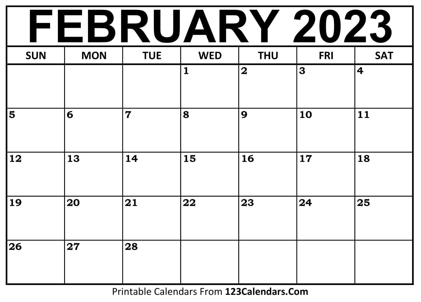 Printable February 2021 Calendar Templates   123Calendars for Free Calendars You Can Edit 2021 8 1/2 X 11 Image