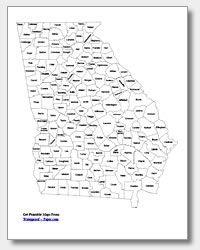 Printable Georgia Map | State Outline, County, Cities | Georgia Map, County Map, Map inside Waterproofpaper.com Graphics