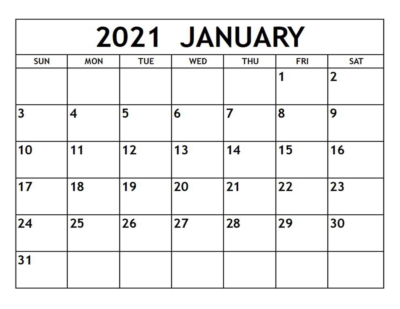 Printable January 2021 Calendar Template   Zudocalendrio for Free Printable Calendar 2021 Daily
