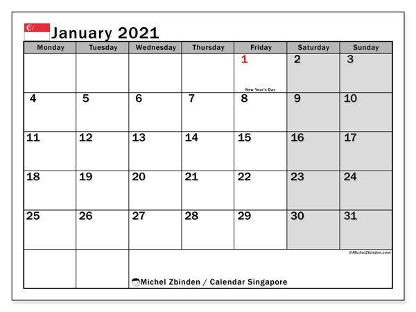 "Printable January 2021 ""Singapore"" Calendar - Michel Zbinden En regarding 2021 Holidays Calendar Singapore Outlook"