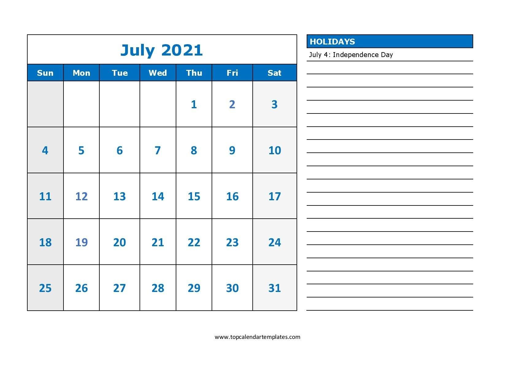 Printable July 2021 Calendar Template - Pdf, Word, Excel throughout Printable Interactive 2021 Calendar Graphics