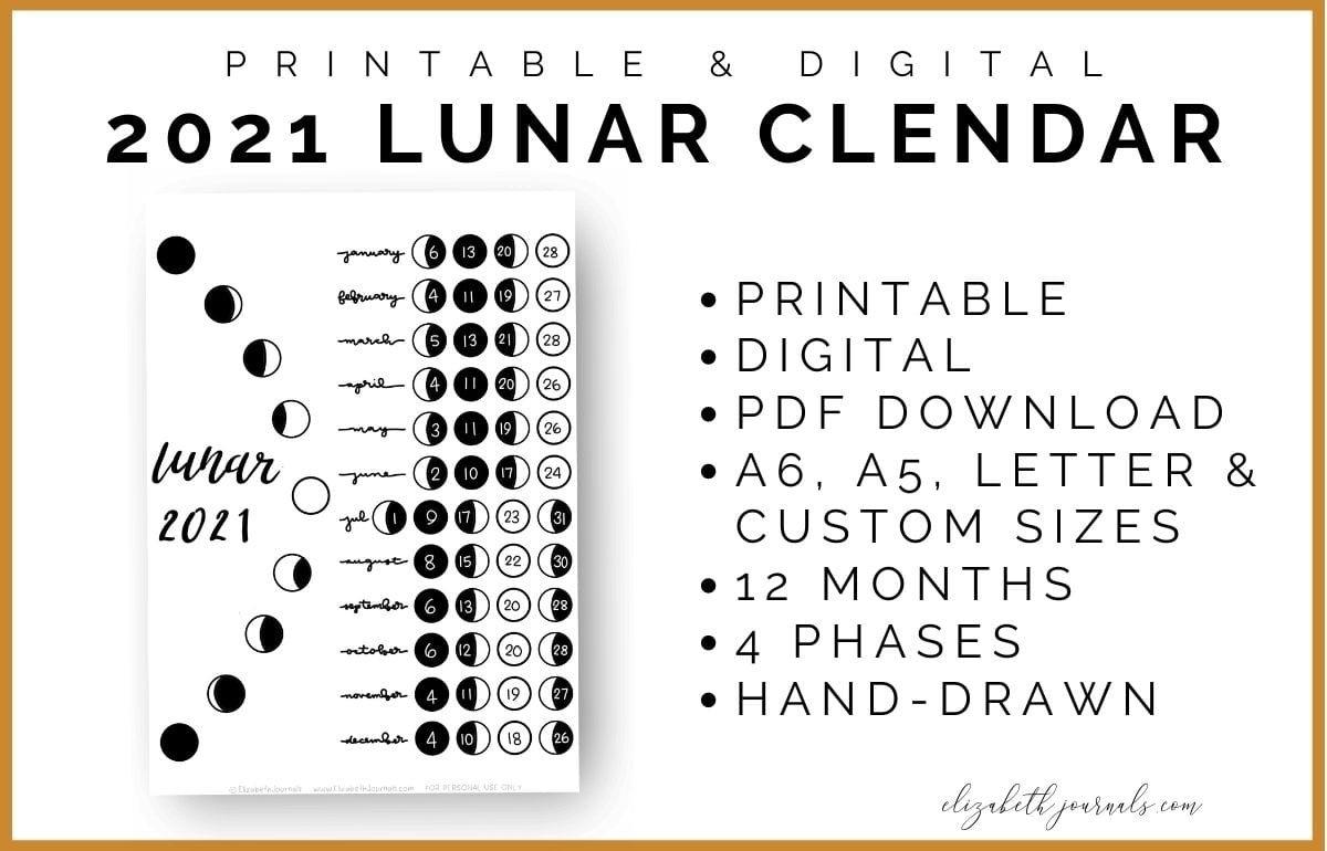 Printable Lunar Calendar 2021   Free 2021 Printable Calendars pertaining to 2021 Lunar Calendar Print Photo