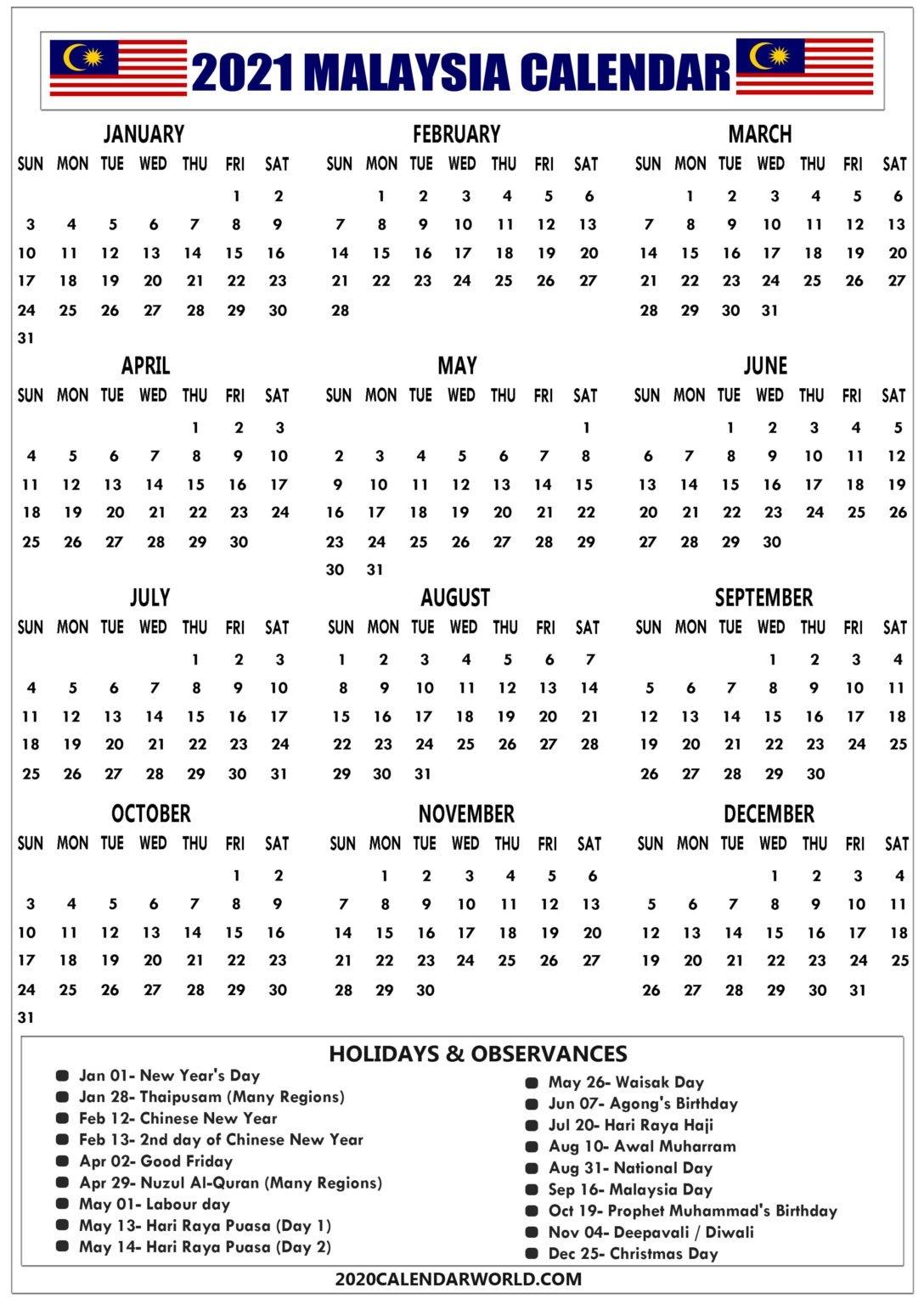 Printable Malaysia 2021 Calendar With Holidays & Observation for Calendar 2021 Malaysia Image Malaysia Photo