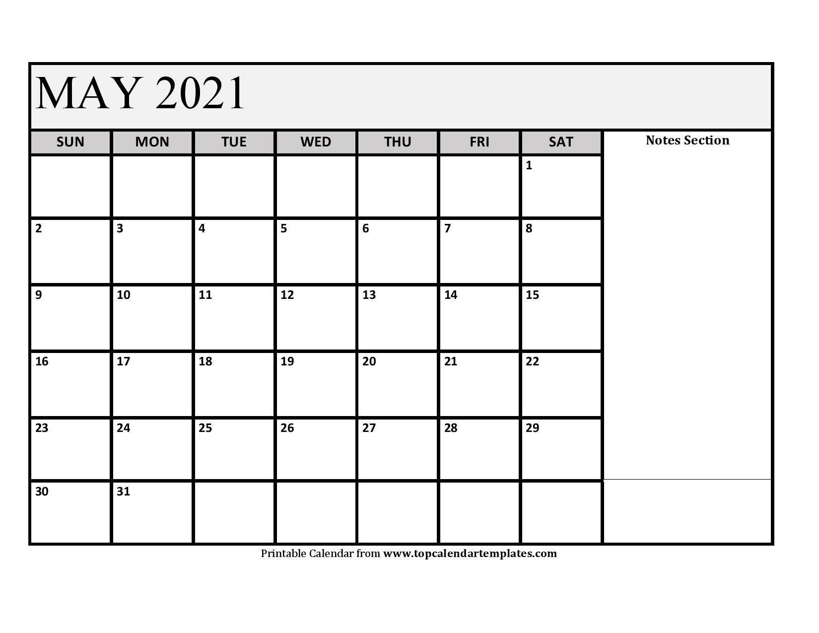 Printable May 2021 Calendar Template - Pdf, Word, Excel for Printable Interactive 2021 Calendar Graphics