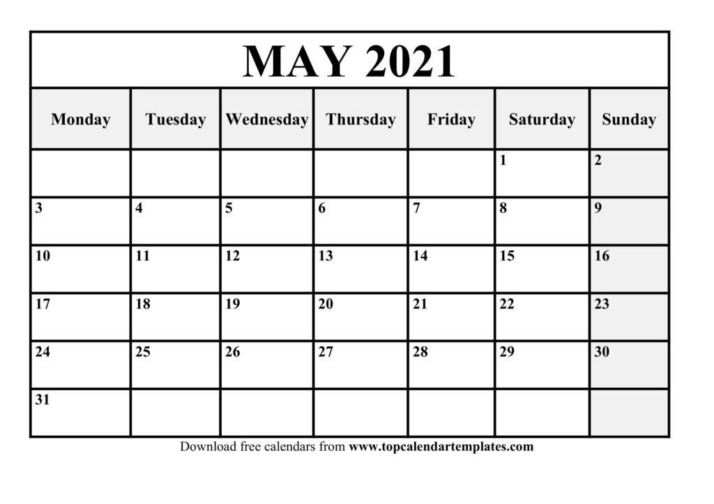Printable May 2021 Calendar Template - Pdf, Word, Excel in Printable Interactive 2021 Calendar Graphics