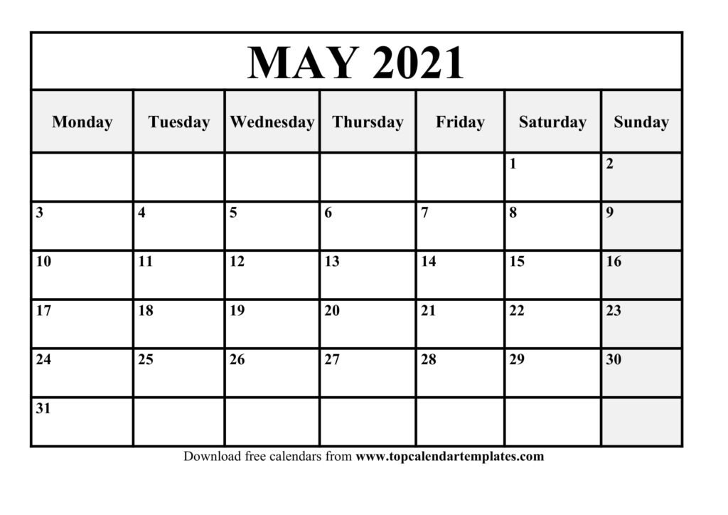 Printable May 2021 Calendar Template - Pdf, Word, Excel intended for 2021 Excel Calendars Verticle