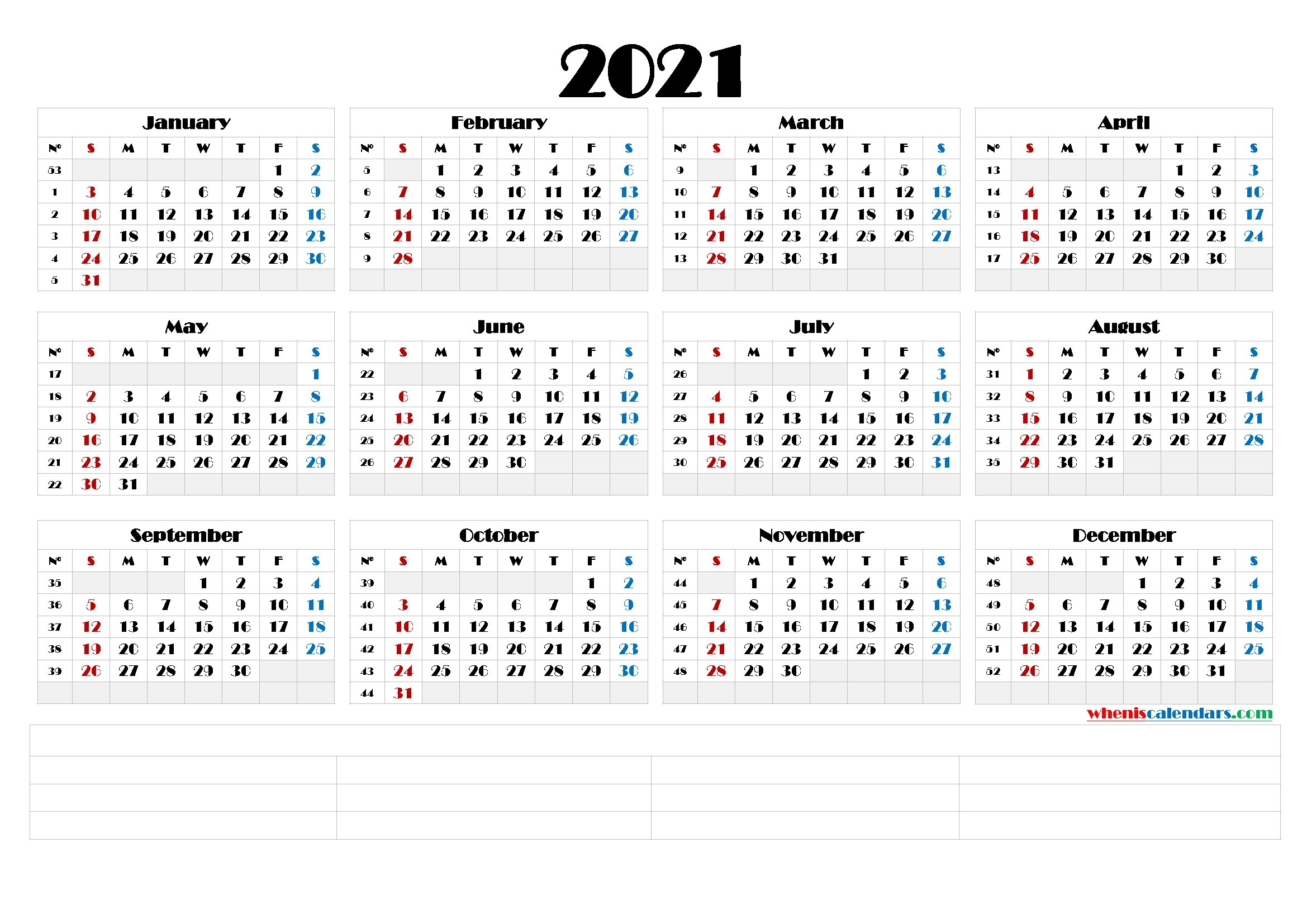 Printable Monthly 2021 Calendar Template Word : Printable 2021 Calendar Template In Pdf Word inside Free Printable Yearly Calendars 2021 Portrait
