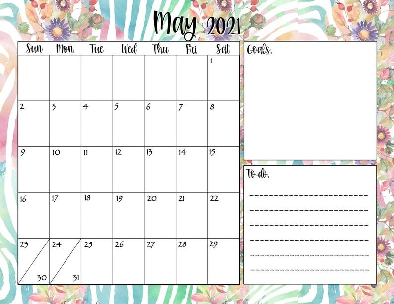 Printable Monthly Calendar 2021 Download Bundle Includes | Etsy intended for Printable Weekly Calendar 2021
