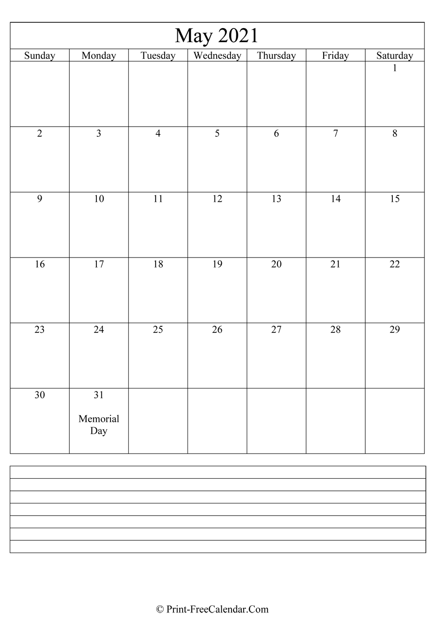 Printable Monthly Calendar 2021 intended for Printable Calendar 2021 Monthly With Notes