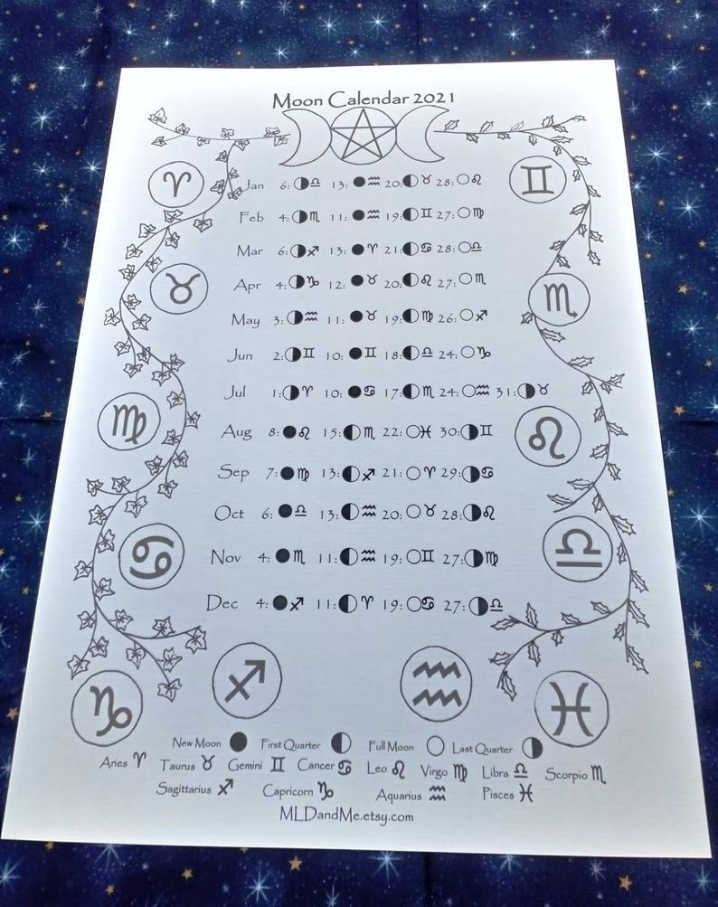 Printable Moon And Zodiac Calendar 2021 Moon Phase Calendar   Etsy in 2021 Lunar Calendar Print