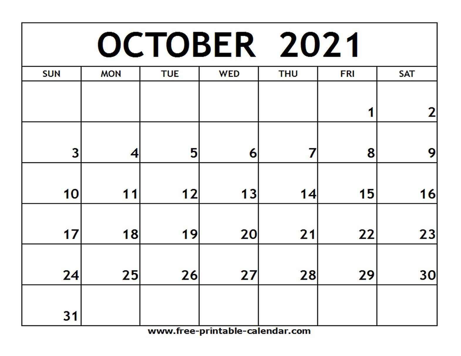 Printable October 2021 Calendar Editable   Free Printable Calendar regarding 2021 Julian Calendar Pdf Image