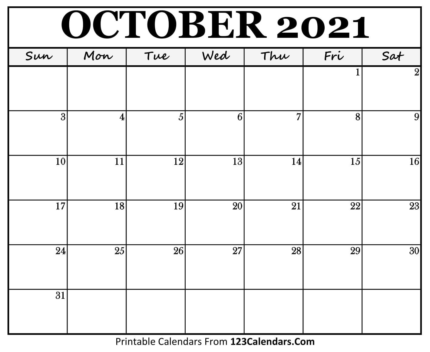 Printable October 2021 Calendar Templates | 123Calendars with Calendar 2021 Brunei For Print Photo