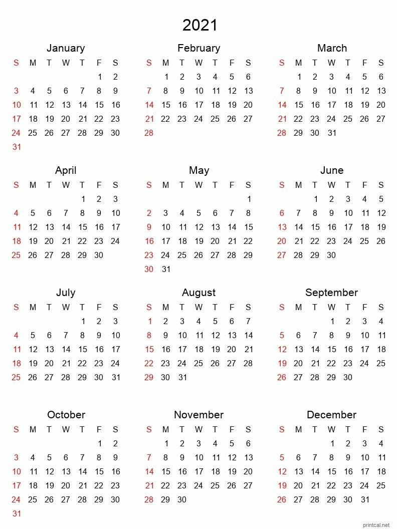 Printable One Page Calender For 6 Months July 2021 Through December 2021 - Example Calendar with One Page 2021 Calendar Printable Images Graphics