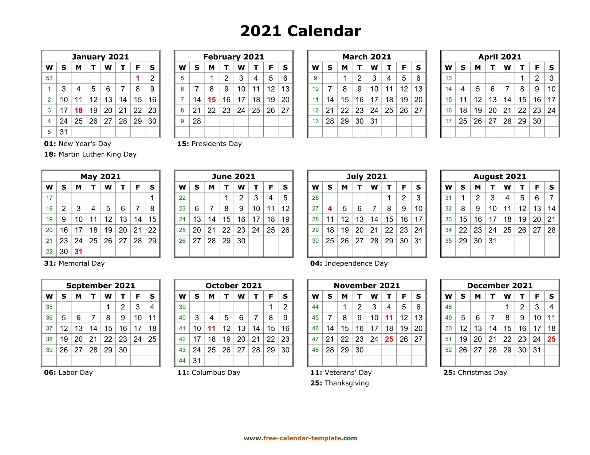 Printable Yearly Calendar 2021   Free-Calendar-Template within Two Year Calendar Template 2021 2021 Image