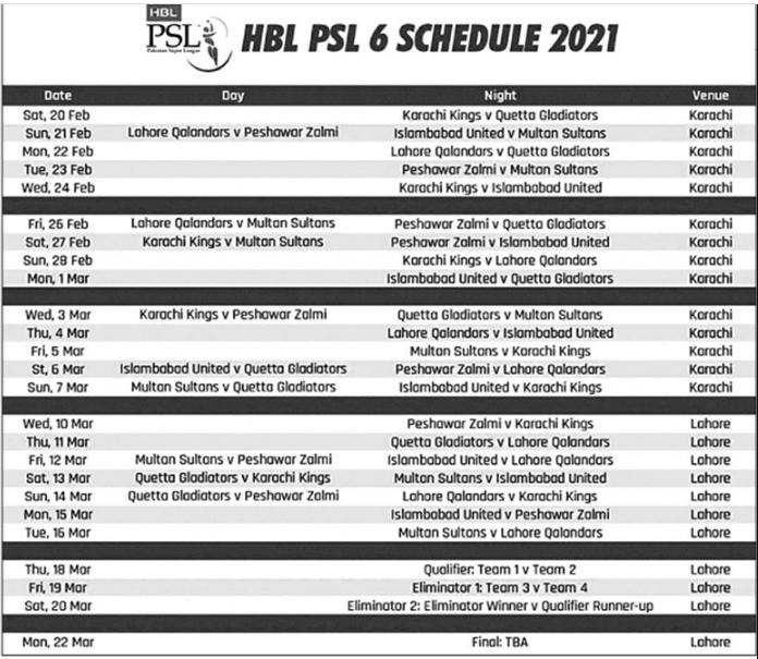 Psl Schedule 2021-Pakistan Super League Time Table Calendar 6Th Edition regarding Pakistan 2021 Photo Calendar