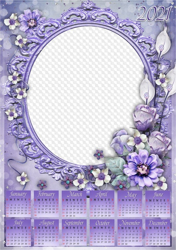 Purple Calendar 2021 With Photo Frame On One Photo, Psd, Png. Calendar For Photoshop. within Church Calendar 2021 Psd