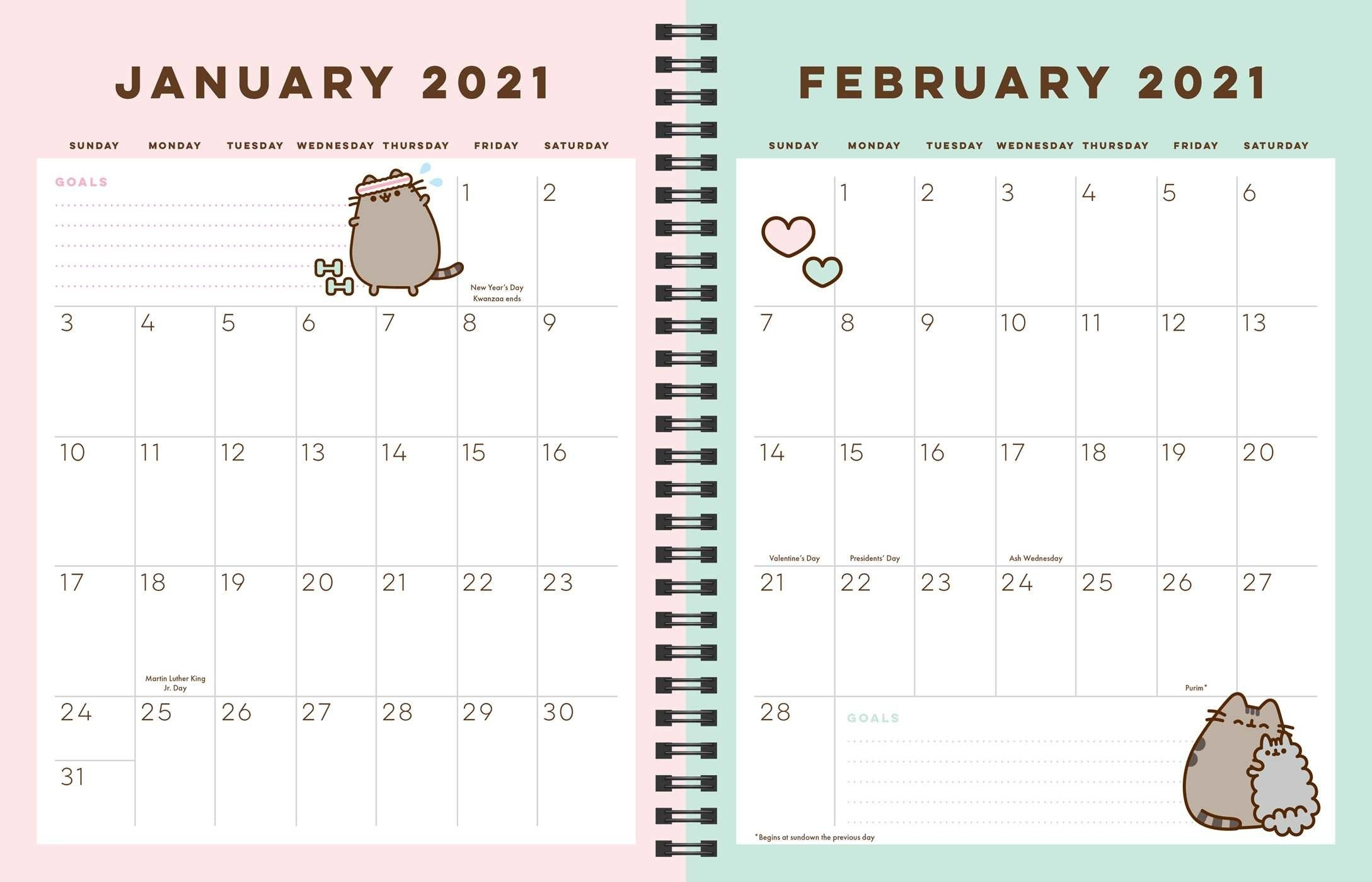 Pusheen 16-Month 2020-2021 Weekly/Monthly Planner Calendar - Book Summary & Video | Official within Calendar 2021 Ziua Up