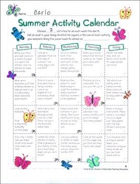 Send-Home Summer Activity Calendar | Printable Skills Sheets intended for 11X17 Activity Calendar Layot
